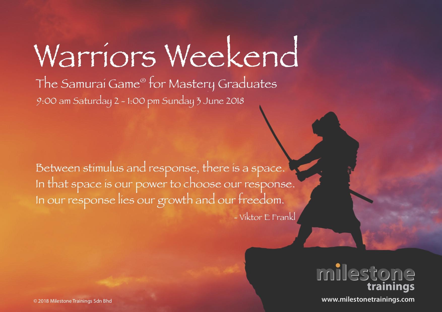 Warriors Weekend -- The Samurai Game for Mastery Graduates